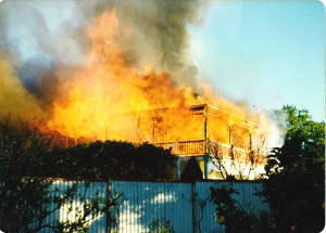Ashram burning